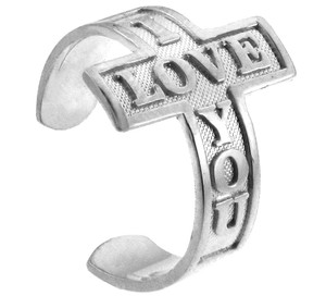 "Silver ""I Love You"" Cross Toe Ring"