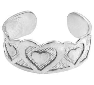 Bold Silver Heart Toe Ring