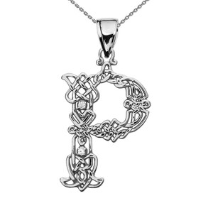 """P"" Initial In Celtic Knot Pattern White Gold Pendant Necklace With Diamond"