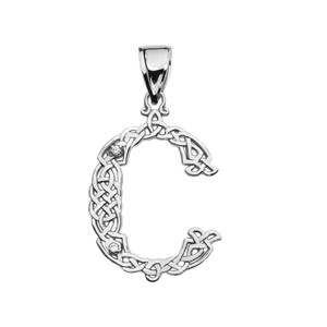 """""""C"""" Initial In Celtic Knot Pattern White Gold Pendant Necklace With Diamond"""