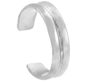 Double Classic White Gold Toe Ring