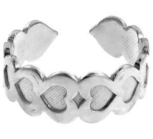 Fancy Heart White Gold Toe Ring