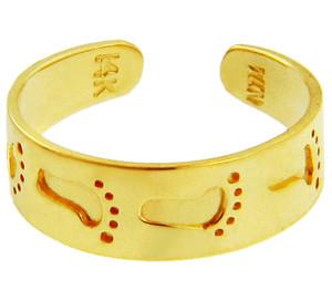 Bold Footprint Yellow Gold Toe Ring