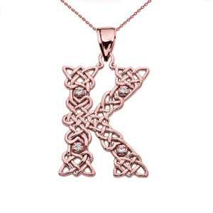 """""""K"""" Initial In Celtic Knot Pattern Rose Gold Pendant Necklace With Diamond"""