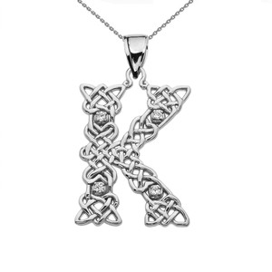 """K"" Initial In Celtic Knot Pattern White Gold Pendant Necklace With Diamond"