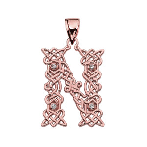 """N"" Initial In Celtic Knot Pattern Rose Gold Pendant Necklace With Diamond"