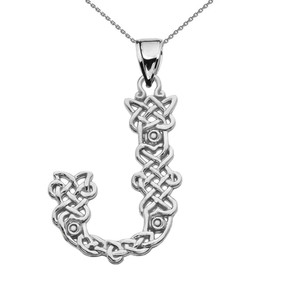"""""""J"""" Initial In Celtic Knot Pattern Sterling Silver Pendant Necklace"""