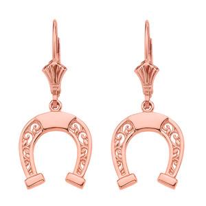 14K  Rose Gold Filigree Horseshoe Earrings