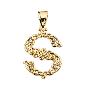 """S"" Initial In Celtic Knot Pattern Yellow Gold Pendant Necklace With Diamond"
