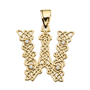 """""""W"""" Initial In Celtic Knot Pattern Yellow Gold Pendant Necklace With Diamond"""