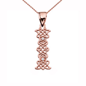 """""""I"""" Initial In Celtic Knot Pattern Rose Gold Pendant Necklace With Diamond"""