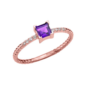 Dainty Rose Gold Solitaire Princess Cut Amethyst and Diamond Rope Design Engagement/Promise Ring