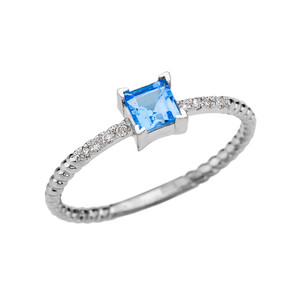Dainty White Gold Solitaire Princess Cut Blue Topaz and Diamond Rope Design Engagement/Promise Ring