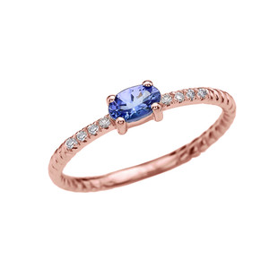 Diamond And Oval Tanzanite Rope Design Rose Gold Dainty Engagement/Proposal/Stackable Ring