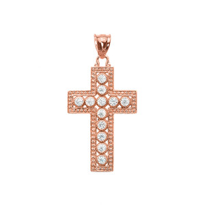 Rose Gold Diamond Cross  Pendant Necklace
