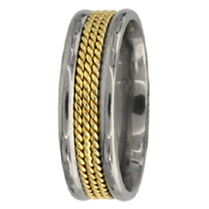 14k Two-Tone Gold Hand Braided Wedding Band