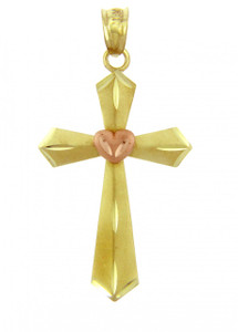 Yellow Gold Cross Pendant - The Heart Cross