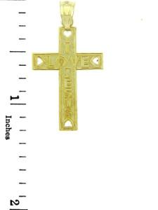 Yellow Gold Cross Pendant - The I Love Jesus Cross