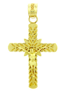 Yellow Gold Crucifix Pendant - The Laurel Crucifix