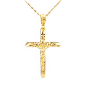 Yellow Gold Crucifix Pendant Necklace - The Love Crucifix