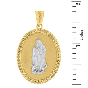 "Two Tone Solid Yellow Gold Cuban Link Framed Virgen de Guadalupe Oval Medallion Pendant Necklace  (1.29"")"
