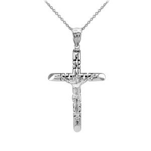 White Gold Crucifix Pendant Necklace - The Love Crucifix