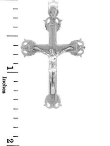 White Gold Crucifix Pendant - The Blessed Crucifix