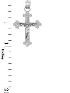 White Gold Crucifix Pendant - The Blessed Trinity Crucifix