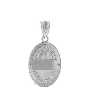 "Sterling Silver Archangel Saint Gabriel CZ Oval Medallion Pendant Necklace  1.02"" (25 mm)"