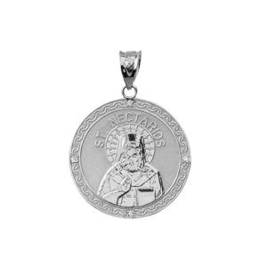 "Sterling Silver Greek Orthodox Saint Nectarios of Aegina Engravable CZ Medallion Pendant Necklace  1.01"" (25 mm)"