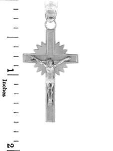 White Gold Crucifix Pendant - The Star Crucifix