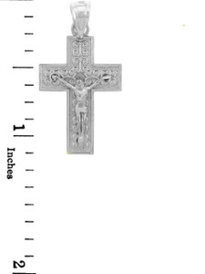 White Gold Crucifix Pendant - The Adoration Crucifix