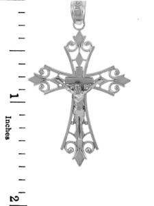 White Gold Crucifix Pendant - The Worship Crucifix