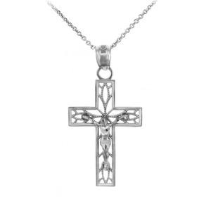 Sterling Silver Crucifix Pendant Necklace - The Trust Crucifix