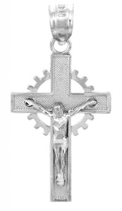 Sterling Silver Crucifix Pendant - The Crown Crucifix