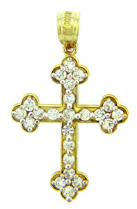 Religious Charms - Bottonee Cross With CZ Stones