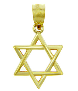 Jewish Charms and Pendants - 14K Yellow Gold Star of David Pendant - The Magen David