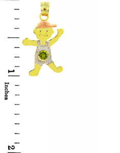 Tri Tone Gold Boy  Birthstone Charm w/ CZ Peridot
