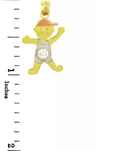 Tri Tone Gold  Boy Birthstone Charm w/  CZ Crystal