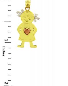 Tri Tone Gold Pinafore Heart Girl Charm