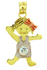 Tri Tone Gold Girl Birthstone Charm w/ CZ Crystal