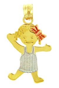 Pinafore Girl Tri Tone Gold  Charm