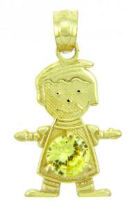 CZ Yellow Topaz Gold Birthstone Charm