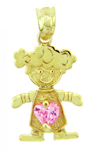 Girl CZ Pink Heart Birthstone Charm