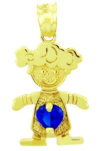 CZ Blue Sapphire Girl Birthstone Charm