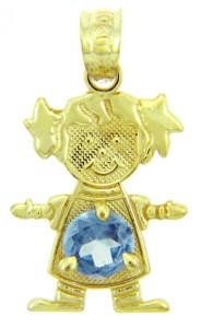 CZ Light Blue Girl Birthstone Charm