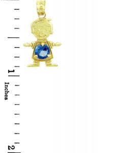 CZ Blue Round Gem  Birthstone Charm