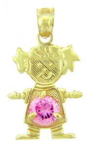 CZ Pink Gem October June Girl Birthstone Charm