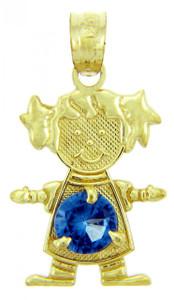 CZ Blue Sapphire September Girl Birthstone Charm