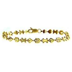Yellow Gold Bracelet - The I Heart U Bracelet